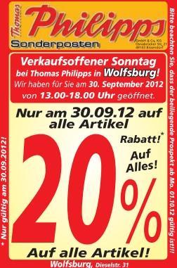 Thomas Philipps Wolfsburg - 20% auf alles - Verkaufsoffener Sonntag - 30.09