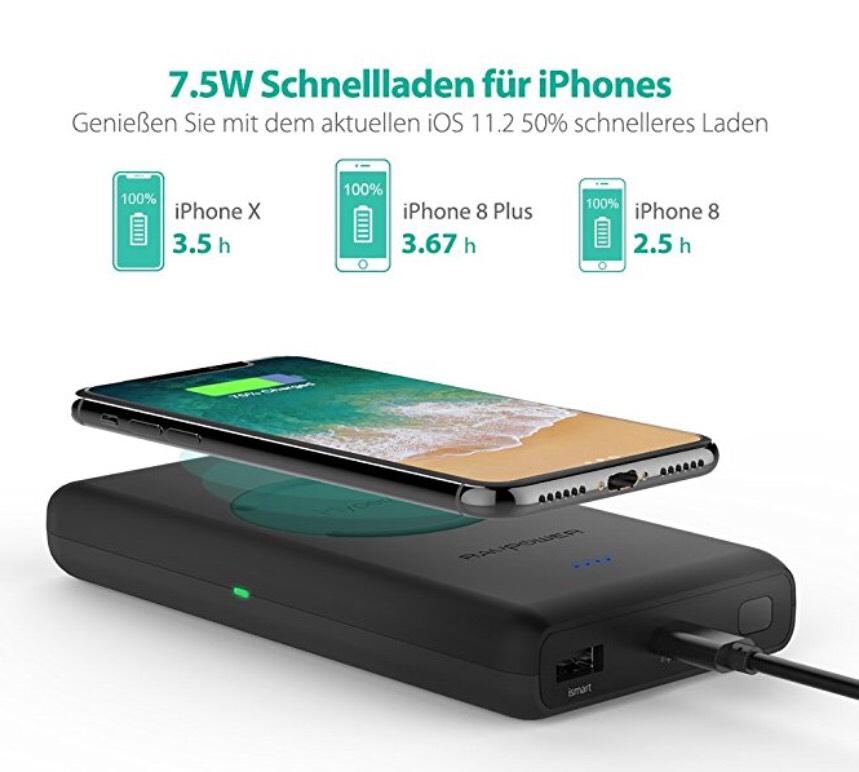 RAVPower Wireless Powerbank (10400mAh) für alle Qi-Fähigen Geräte für 34,99€