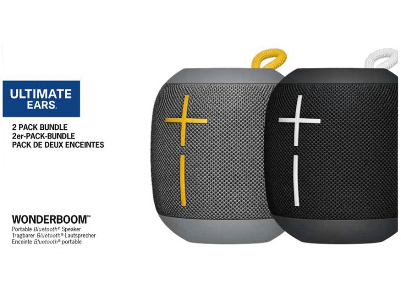 [Mediamarkt] ULTIMATE EARS WONDERBOOM Bundle Black & Stone Bluetooth Lautsprecher, Schwarz/Grau, Wasserfest für 77,-€
