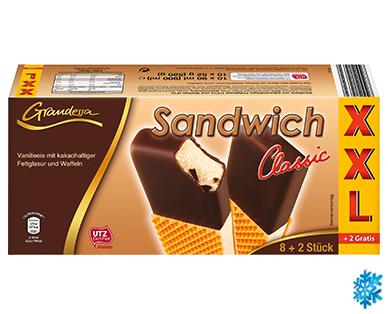 Eis-Sandwich Classic XXL-Packung (8 + 2 Eis gratis) von Grandessa für 1,29€ bei ALDI Süd