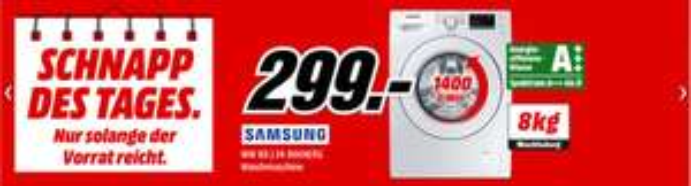 SAMSUNG WW 80 J 34 D0KW/EG Waschmaschine (8 kg, 1400 U/Min., A+++)
