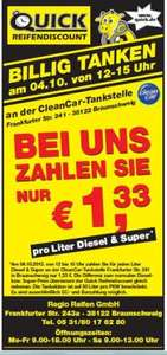 Tanken für 1,33 € pro Liter Diesel und Super Benzin [LOKAL] Braunschweig 4.10