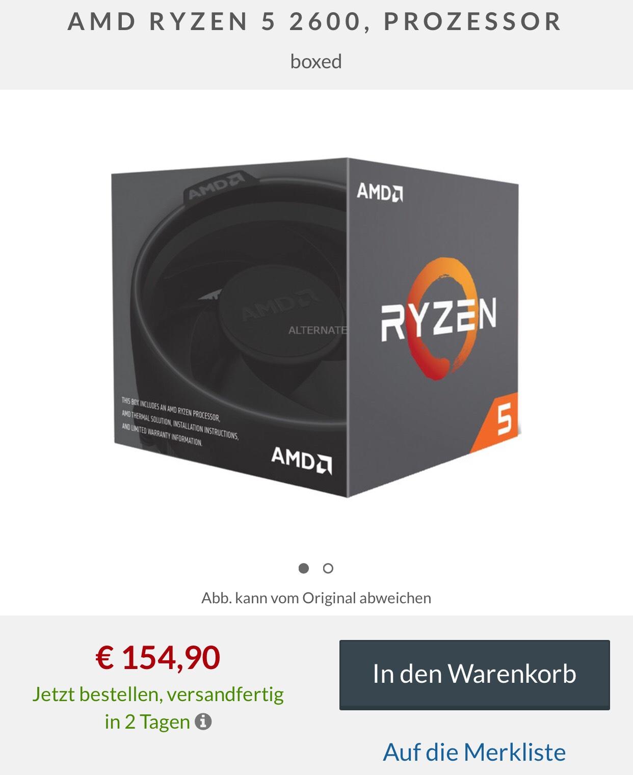 """Ryzen 2600 Boxed mit Gutschein """"Masterpass"""" für 135,98€ bei Alternate"""