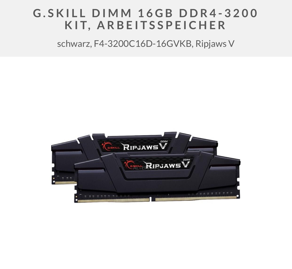 """16GB DDR4 G.Skill Ripjaws V 3200MHz CL16 Dual-Kit mit Gutschein """"Masterpass25"""" bei Alternate"""