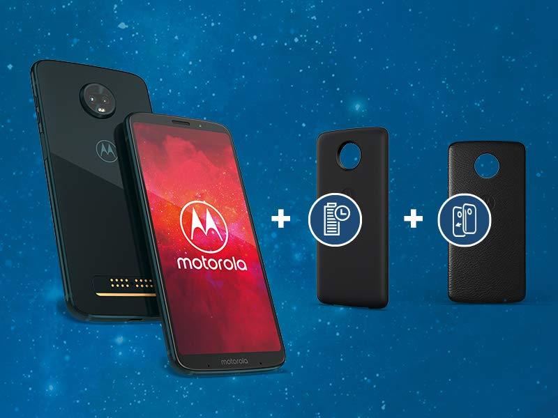 "[amazon] Motorola Moto z3 Play - 6"" Dual-SIM Smartphone (2160x1080, 12/5/8MP, 64GB, 4GB RAM, 3.000mAh, USB-C, Quick Charge, Android 8.1) in Deep Indigo im Bundle mit Moto Power Pack + Moto Style Shell – Black Leather"