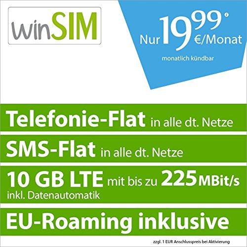 Winsim LTE mit 10GB/225Mbit für  19,99€ monatlich kündbar