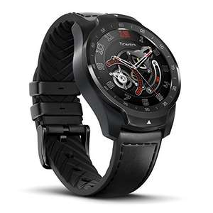 [Prime] TicWatch Pro Smartwatch mit Lederband (Mehrschichtiges Display, GPS, Wear OS 2.0, Bluetooth, Google Assistant, NFC, Herzfrequenzsensor, Kompatibel mit Android und iOS)