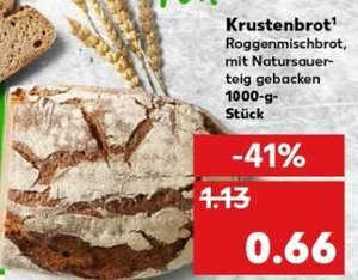 1 kg Laib Krustenbrot (Mischbrot mit Natursauerteig) für 66 ct @ Kaufland ab 13.08.