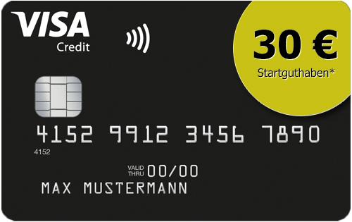 30€ Startguthaben für Neukunden einer dauerhaft grundgebührfreien Deutschland-Kreditkarte Classic