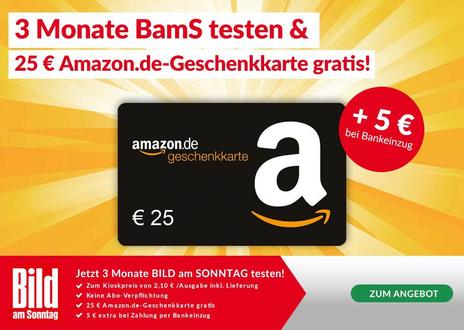 [Lesershop24] 3 Monate BILD am Sonntag für 22,30€ (Bankeinzug, sonst 27,30 €) + 25€ Amazon Gutschein