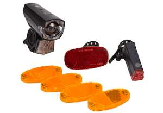 FISCHER Fahrrad-Set mit Front- & Rückleuchte, Reflektor und Speichenstrahler (StVZO-konform)