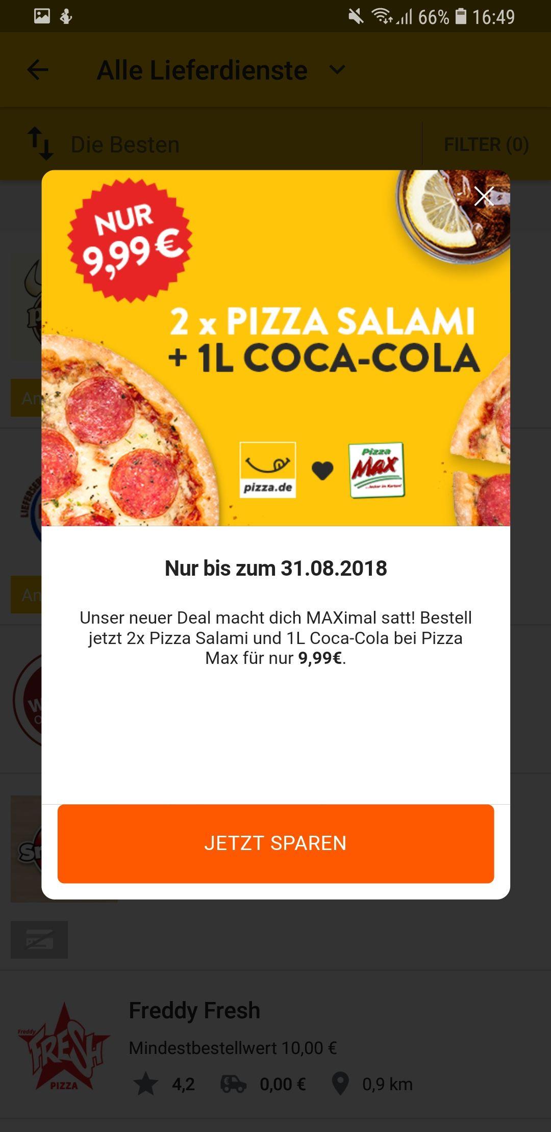Pizza.de: Pizza Max: zwei Salamipizzen je 26cm und 1L Coke für 9,99€ in 5 Bundesländern Hamburg, Schleswig-Holstein, Berlin, Brandenburg, Sachsen-Anhalt [gültig bis 31.08.] Payback möglich