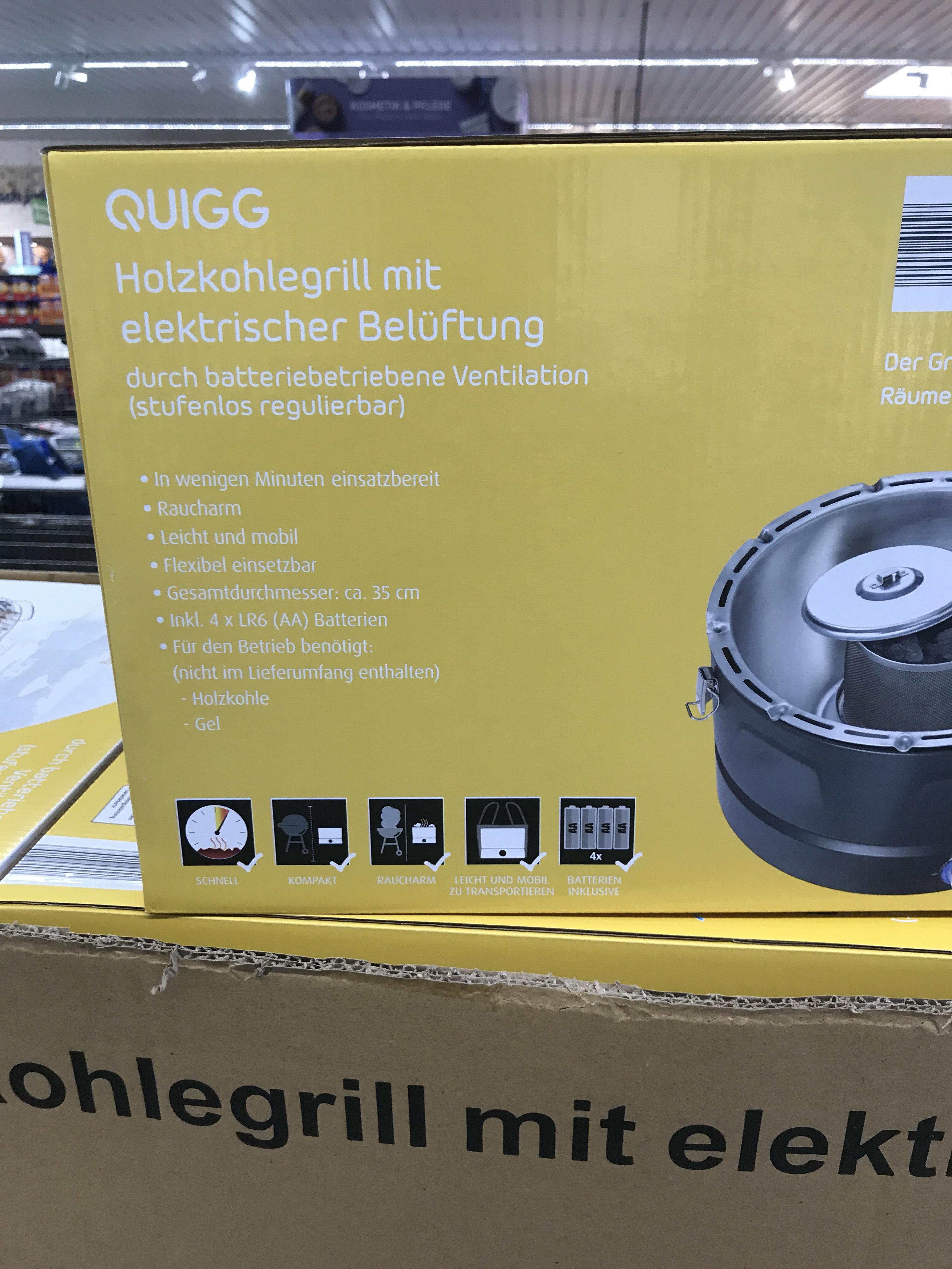[Lokal Dortmund - ALDI NORD] QUIGG Holzkohlegrill mit elektrischer Belüftung (Lotus-ähnlich)
