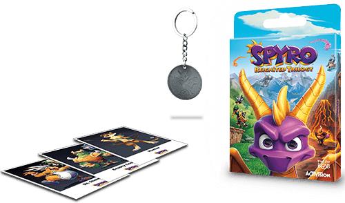 Spyro Reignited Trilogy mit Pre-Order Bonus Paket - Schlüsselanhänger, Karten und PS4 Theme