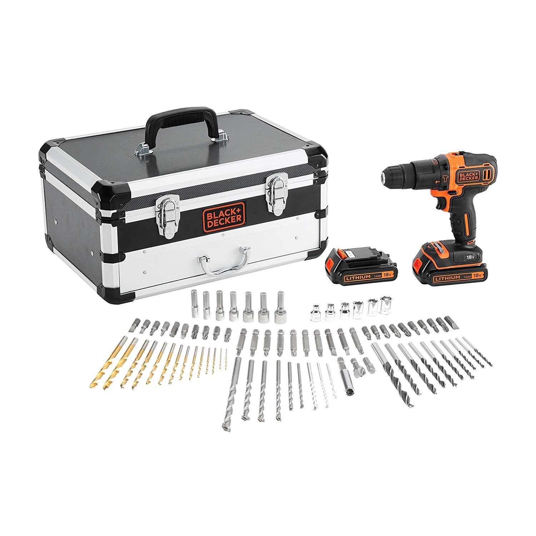 Black + Decker BDC718AS2F-QW BDC718AS2F Bohrhammer, 18 V, Schwarz/Orange + Koffer und Bohrset