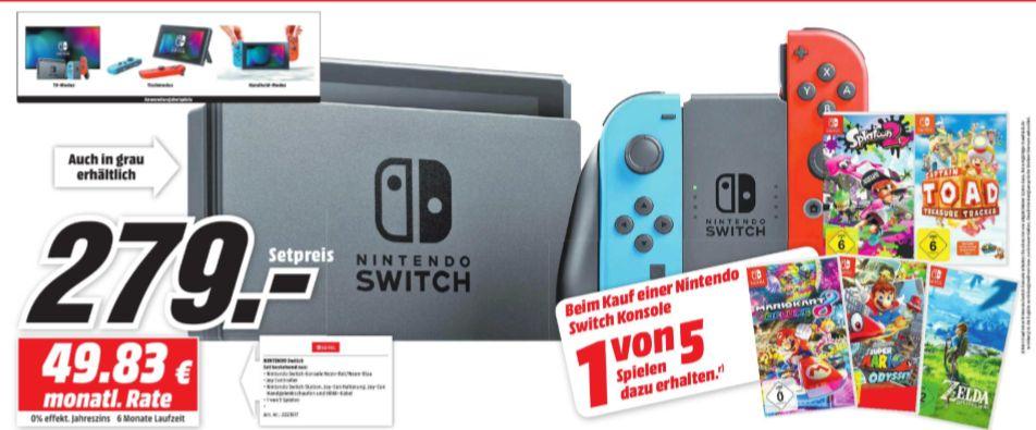 [Regional Mediamarkt Neunkirchen-Ab Donnerstag] Nintendo Switch Konsolein 2 Farben inc. 1 Spiel aus 5.( Zelda,Mario Odyssey, Mario Kart 8 Deluxe,Captain Toad,Splatoon 2) für 279,-€