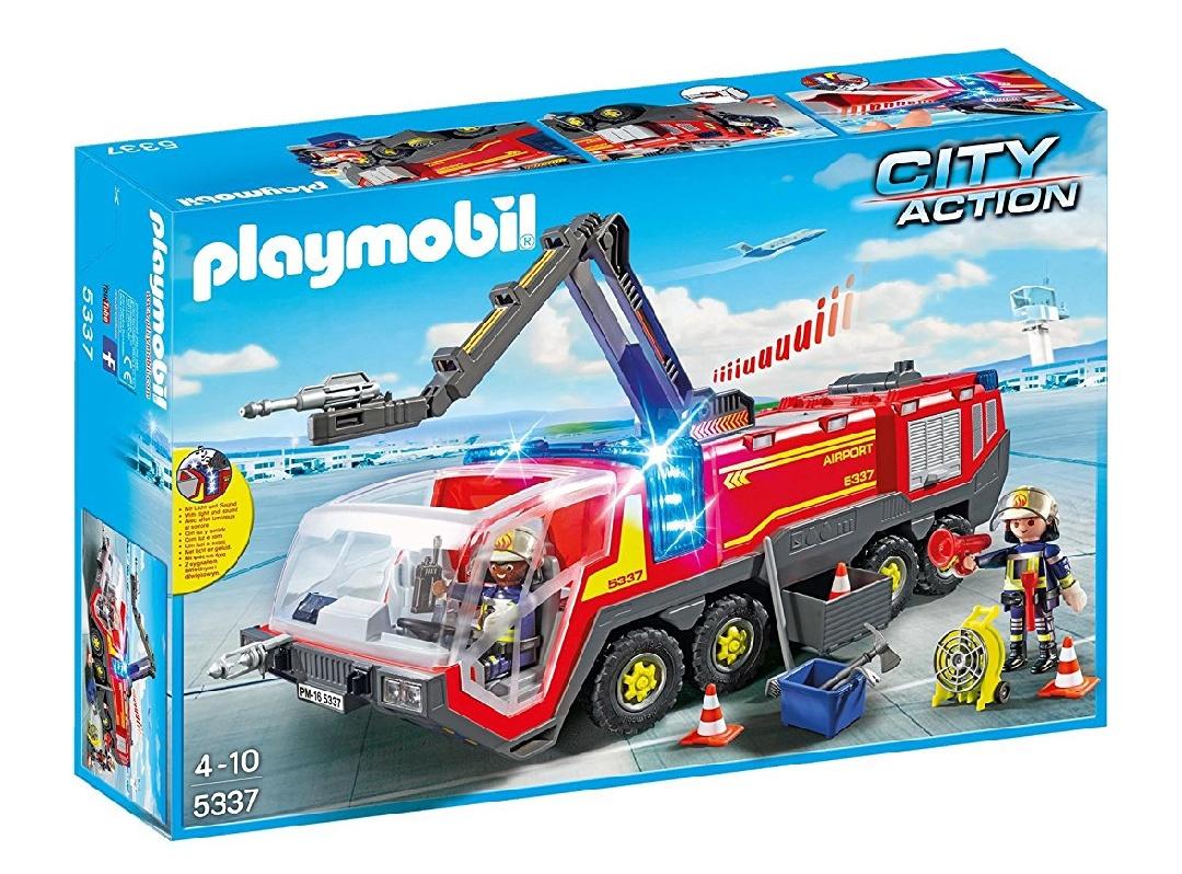 PLAYMOBIL City Action 5337 Feuerwehr - Flughafenlöschfahrzeug mit Licht und Sound [Prime]