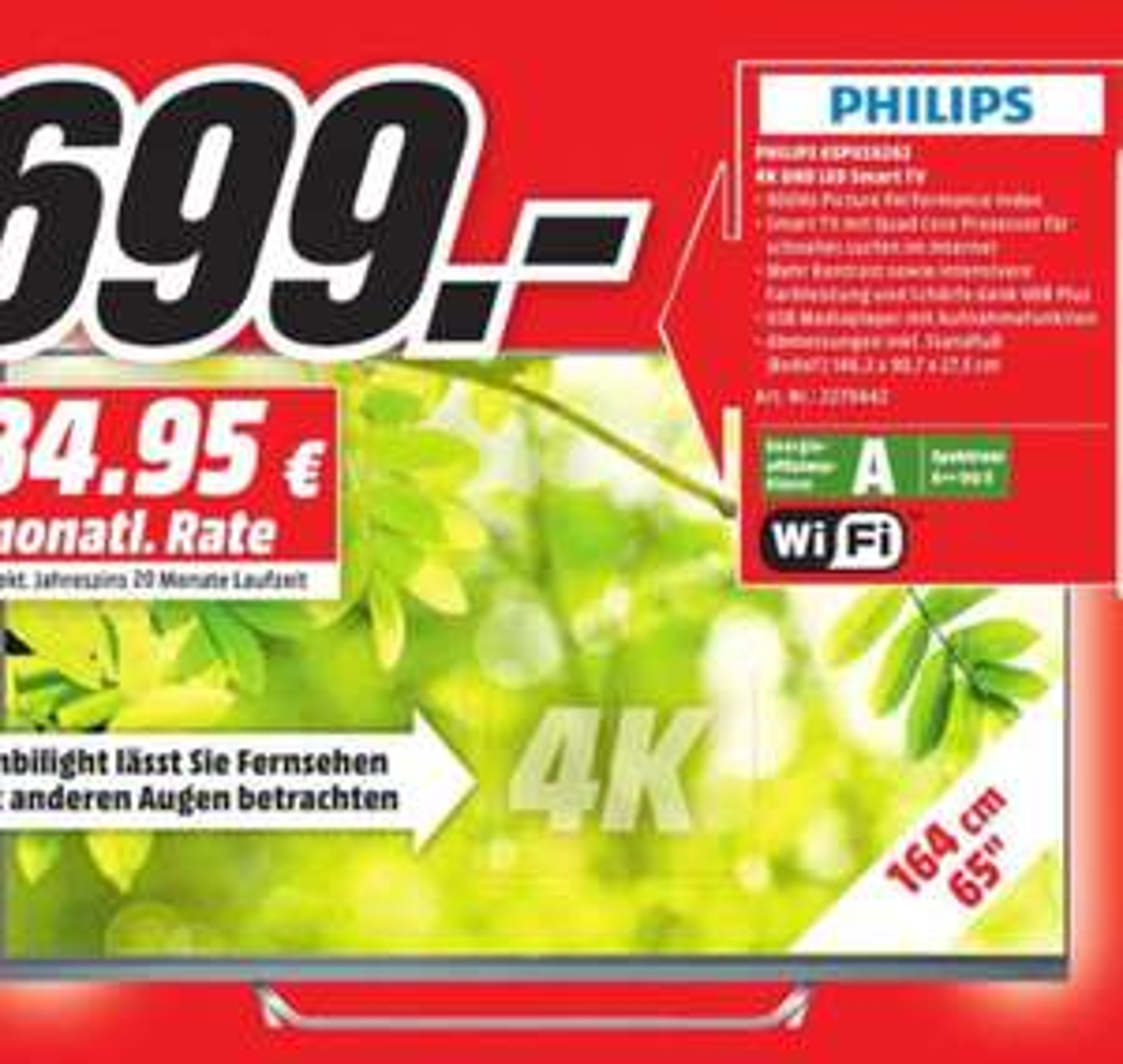 [Lokal Media Markt Bonn und Bornheim] Philips 65PUS6262 4K LED Smart TV