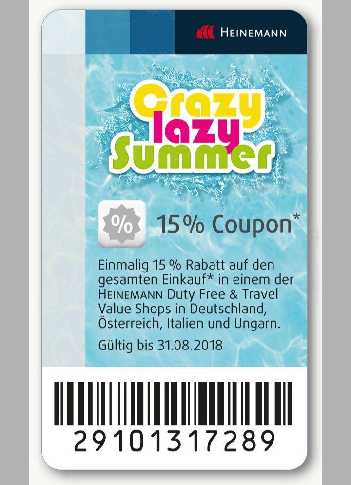 15% auf nicht reduzierte Ware im duty free Heinemann
