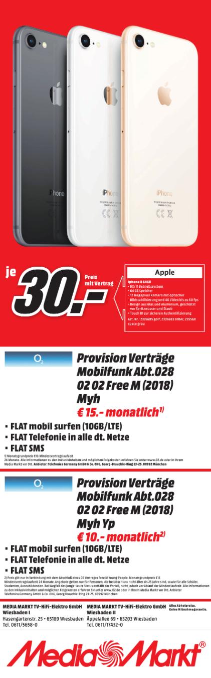 (Lokal) Iphone 8 64 GB mit O2 Free (10 GB LTE) Allnetflat