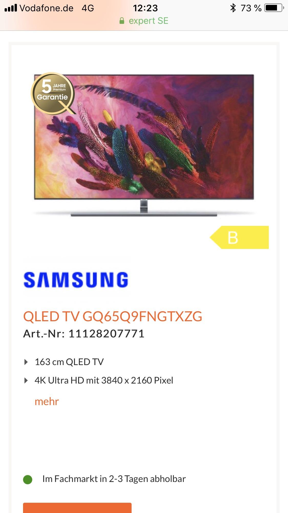 Samsung GQ65Q9 (5Jahre Garantie) wieder da