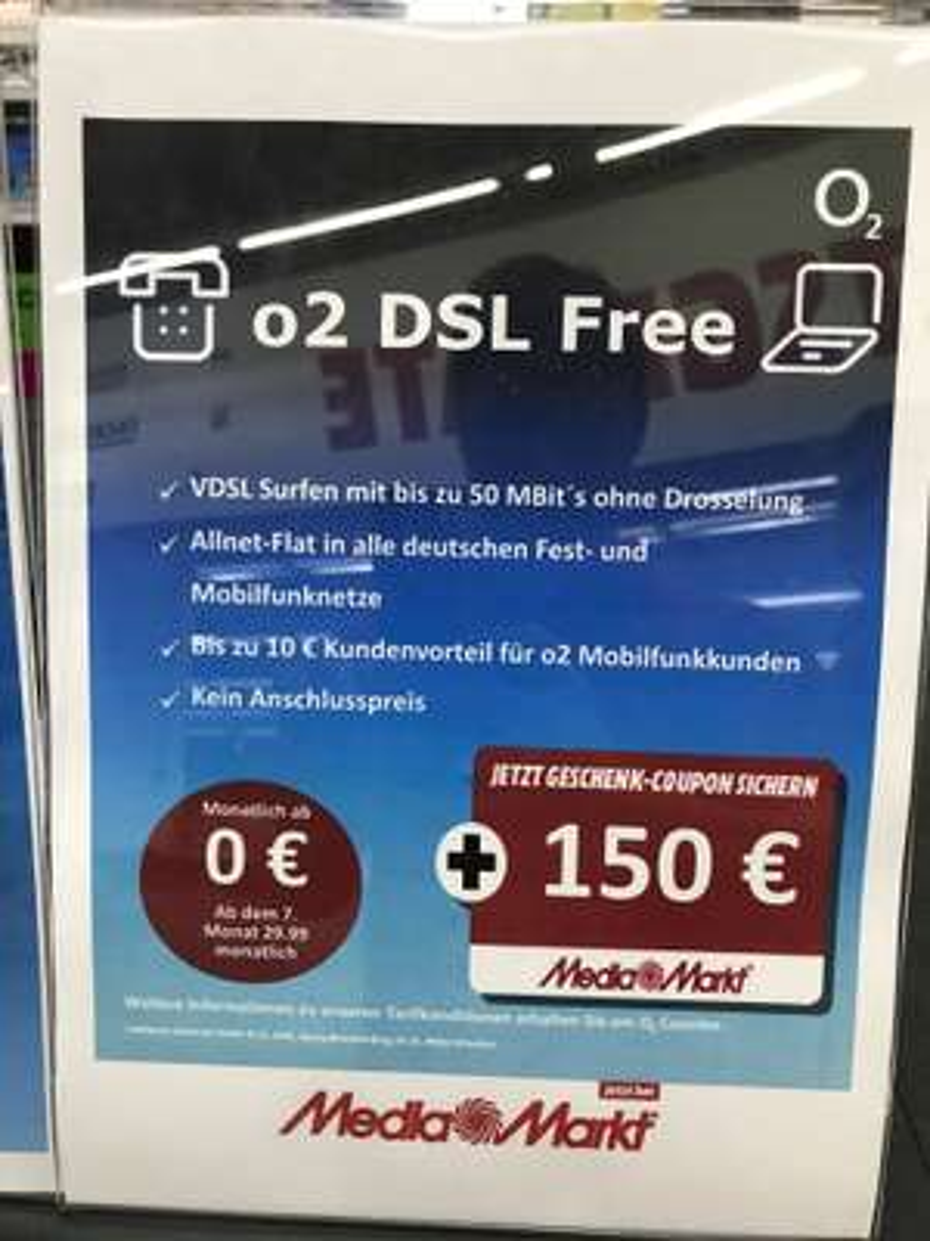 (Lokal Velbert) o2 DSL Free inkl. 150€ Coupon