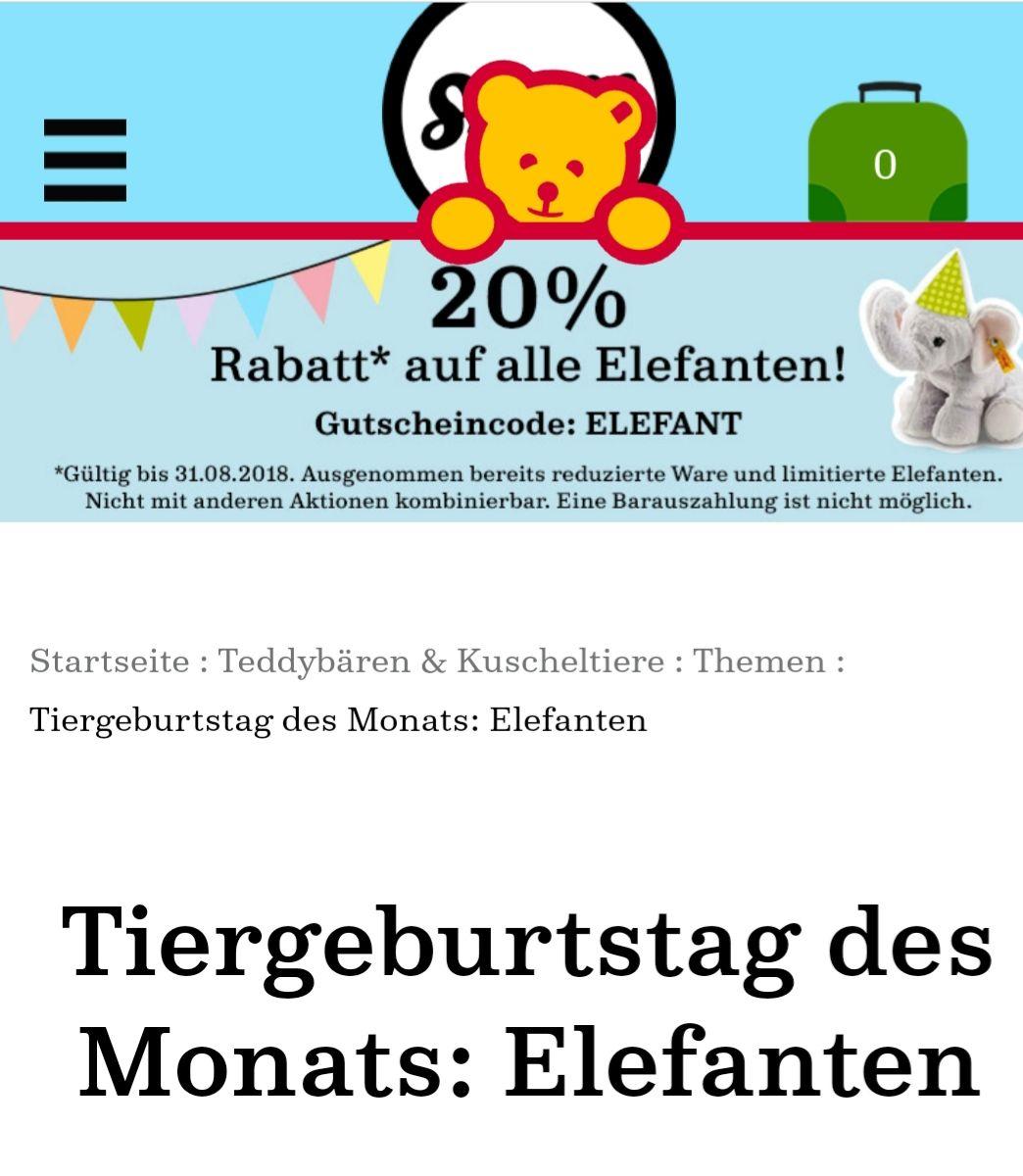 Steiff online 20% auf alle Elefanten