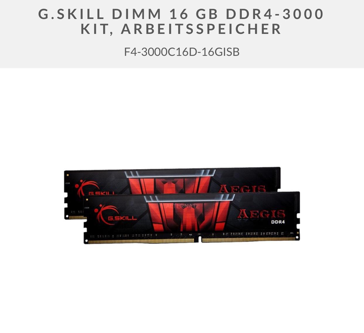 """16GB G.Skill Aegis DDR4 3000MHz Dual-Kit mit Gutschein """"Masterpass25"""" bei Alternate"""