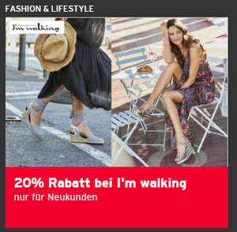 20% Rabatt bei I'm walking plus Versandkosten-Flat für 1 Jahr