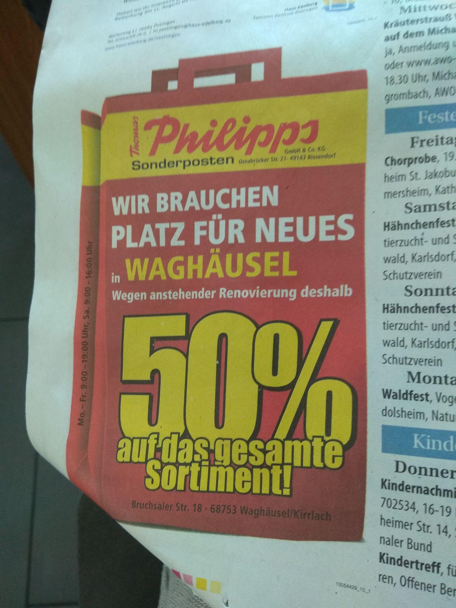(lokal 68753 Waghäusel-Kirrlach) 50% bei Thomas Philipps