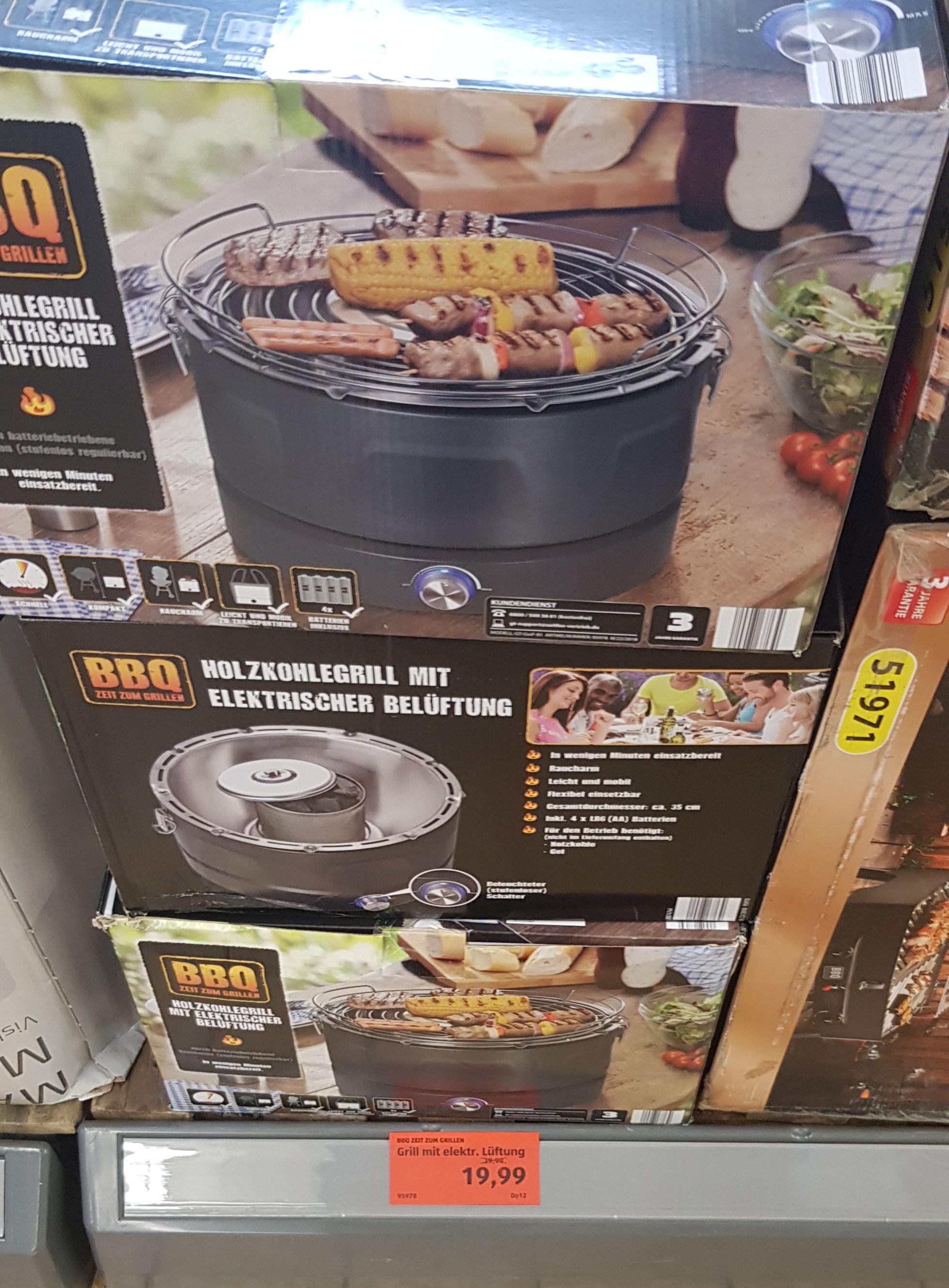 [Aldi Süd Saarbrücken] BBQ Holzkohle Grill mit elektrischer Belüftung für 19,99€