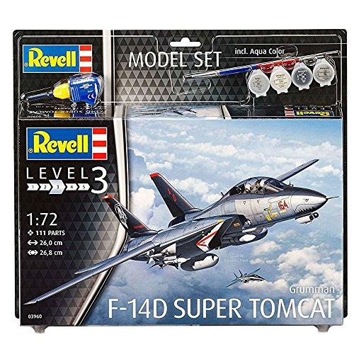 Revell Modellbausatz Flugzeug 1:72 - F-14D Super Tomcat im Maßstab 1:72, Level 3, originalgetreue Nachbildung mit Vielen Details, , Model Set mit Basiszubehör, 63960