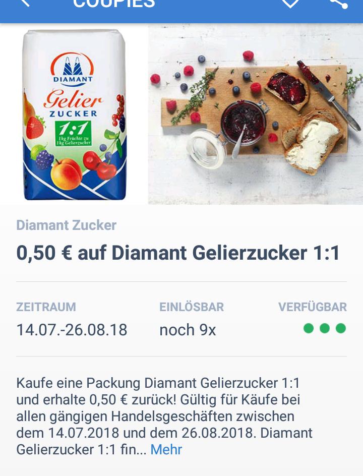 [ALDI Berlin-Hakenfelde] + 0,50€ Cashback von Coupies für Diamant 1kg Gelierzucker 1:1