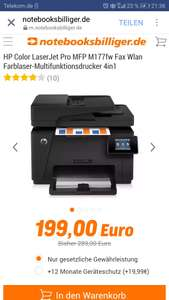 HP Color LaserJet Pro MFP M177fw Fax Wlan Farblaser-Multifunktionsdrucker 4in1