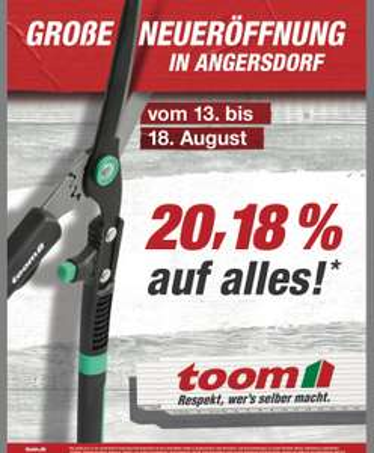 [Lokal] 20,18% Toom Neueröffnung in 06179 Angersdorf
