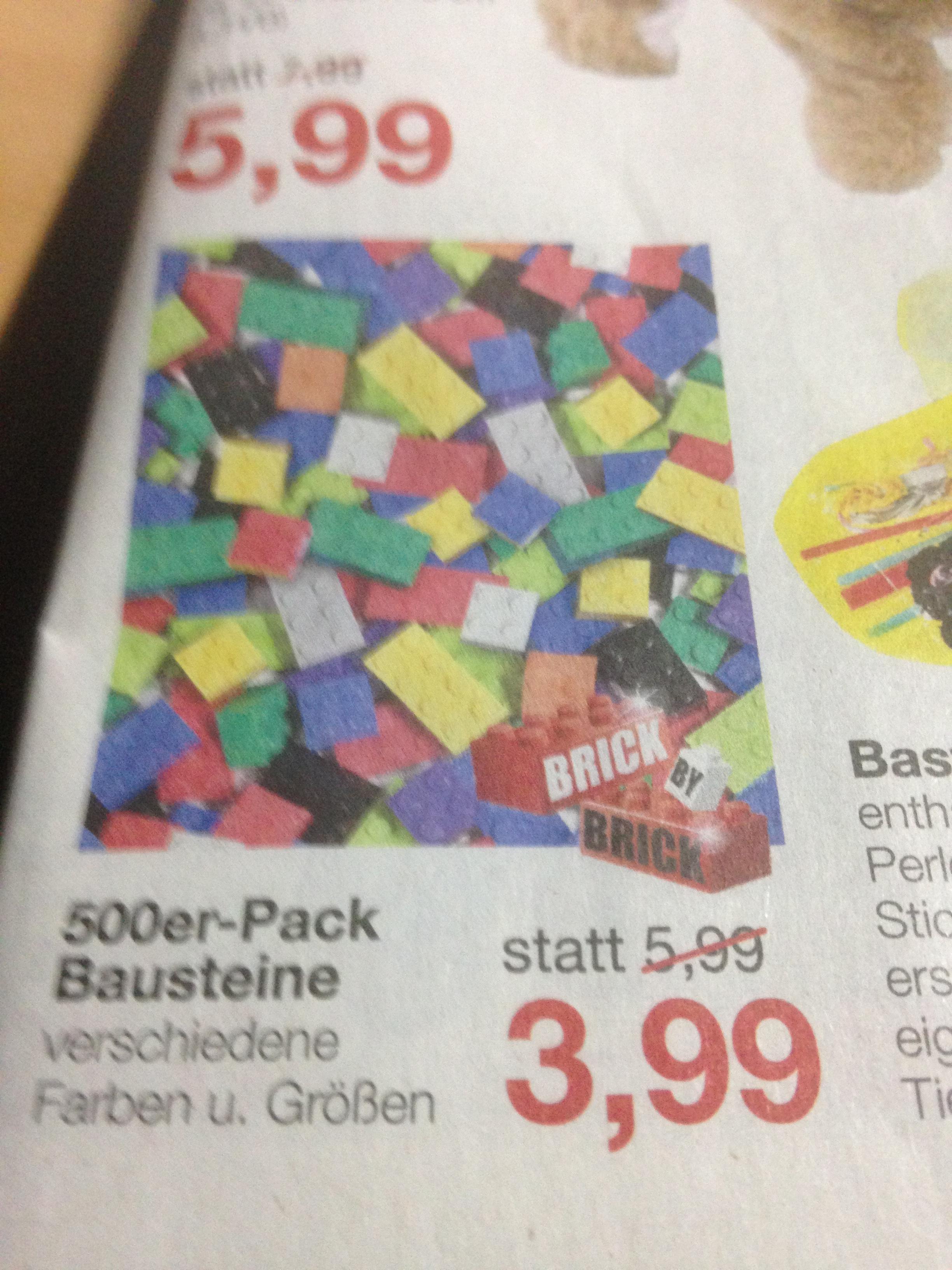 Für die Kleinen. 500er Pack Bausteine für nur 3,99 bei Jawoll