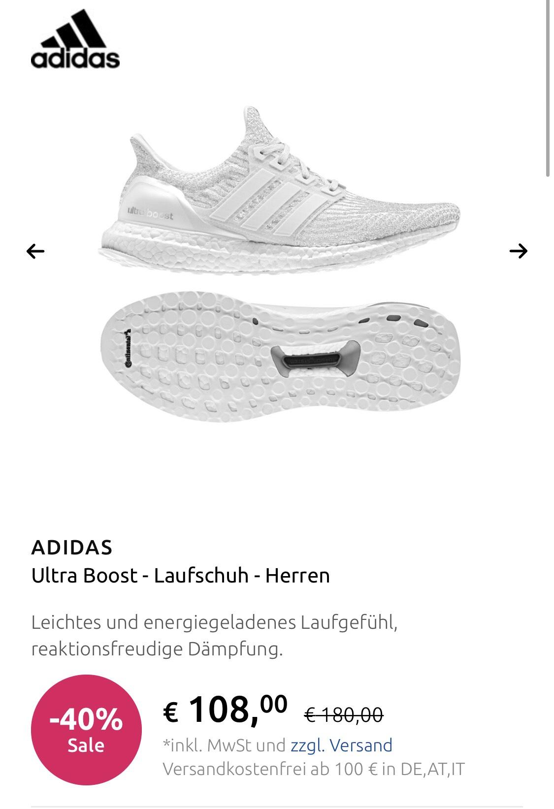 Adidas Ultra Boost 3.0 komplett weiss Gr. 40 2/3-46 2/3