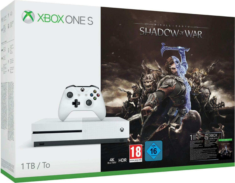 Xbox One S Konsole - 1TB + Mittelerde: Schatten des Krieges + Game Pass 1 Monate (Amazon.es)