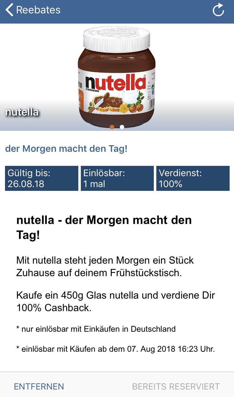 Kostenloses Glas Nutella (450 g) über Reebate für Neukunden