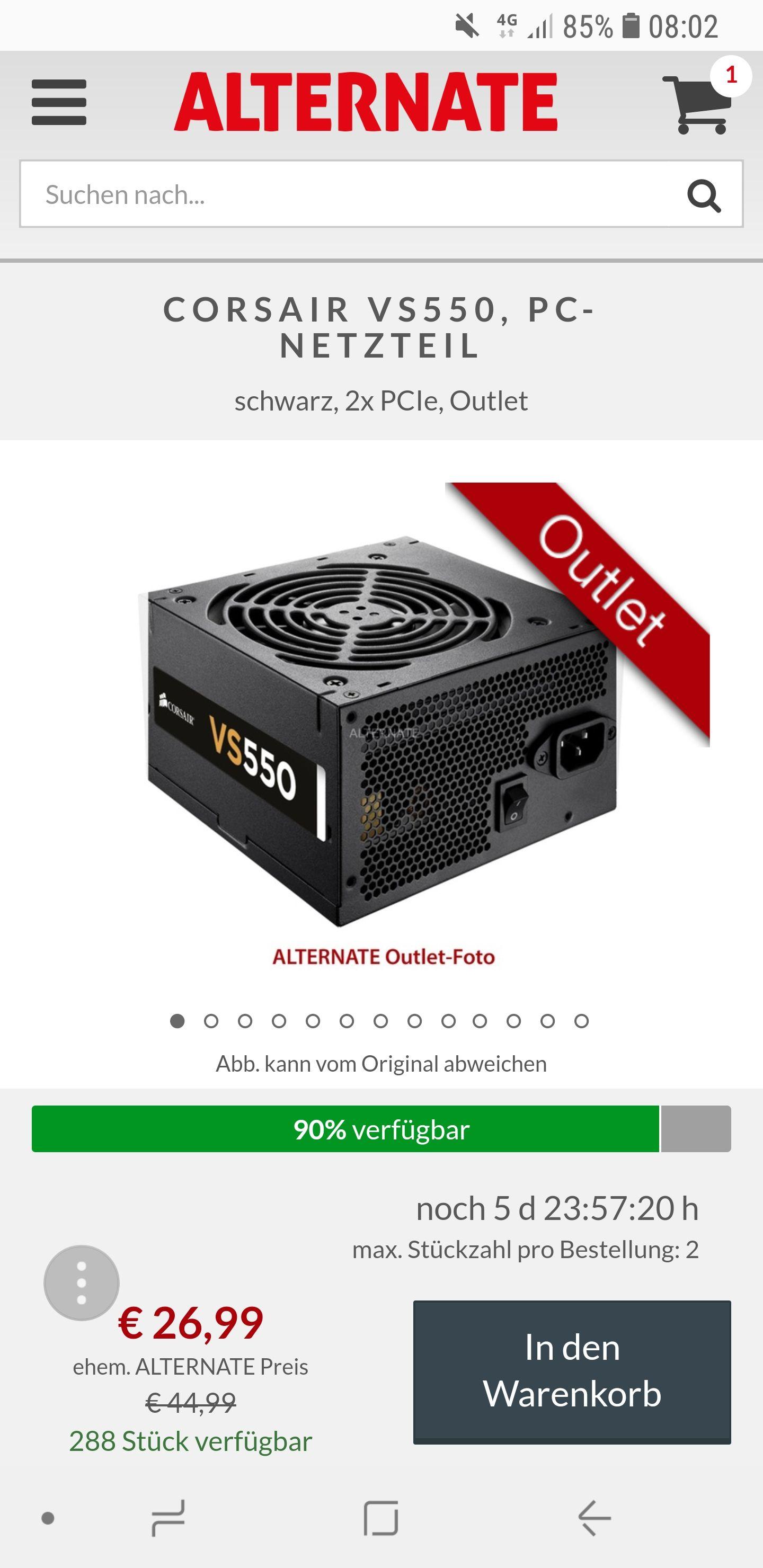 Corsair VS550 Netzteil (CP-9020097) 550W (OUTLET-ARTIKEL)