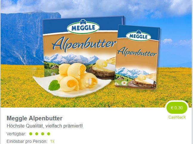 ( Marktguru ) 0,30 Euro auf Meggle Alpenbutter