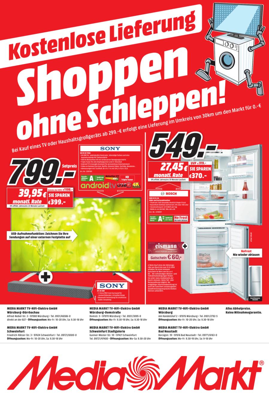 [Lokal MM WÜ+Schweinfurt] SONY KD-XF7596 + Soundbar HT-SF 200 Gratis Lieferung bis 30km