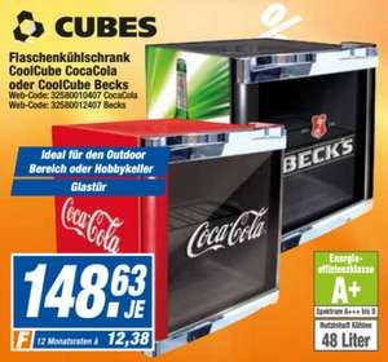 Cubes Coca Cola oder Becks Kühlschrank bei HEM Expert