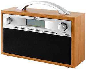 [Amazon oder real] Xoro DAB 200 Tragbares DAB+/FM Radio im Holzdesign (10 Senderspeicher, Stereo, Weckfunktion, LCD Display, Metall-Teleskopantenne) Braun