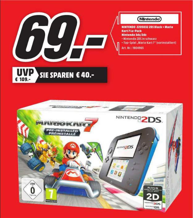 [Lokal Mediamarkt Baden-Baden] Nintendo 2DS schwarz-blau inkl. Mario Kart 7 (vorinstalliert) für 69,00 €