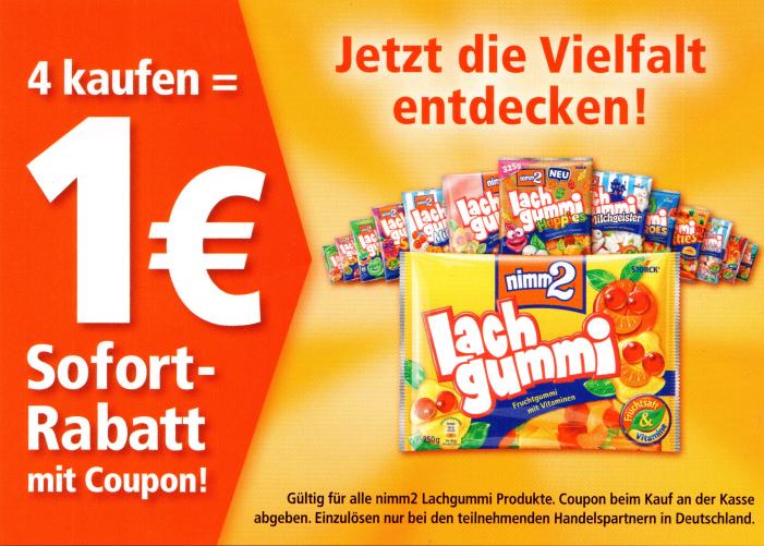 1,00€ Coupon für den Kauf von 4x nimm2 Lachgummi bis 30.09.2018 [Bundesweit]
