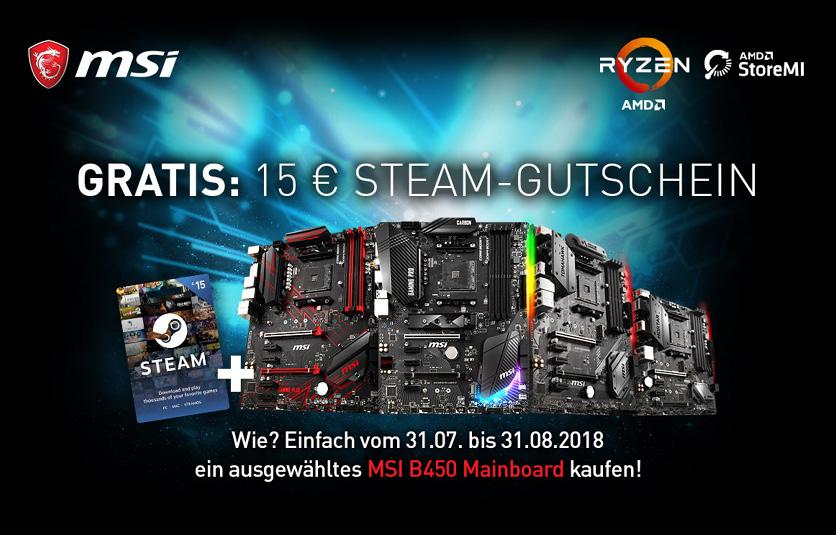 MSI B450 AM4 Mainboards bei Alternate mit 15€ Steam Guthaben (-25€ Masterpass)