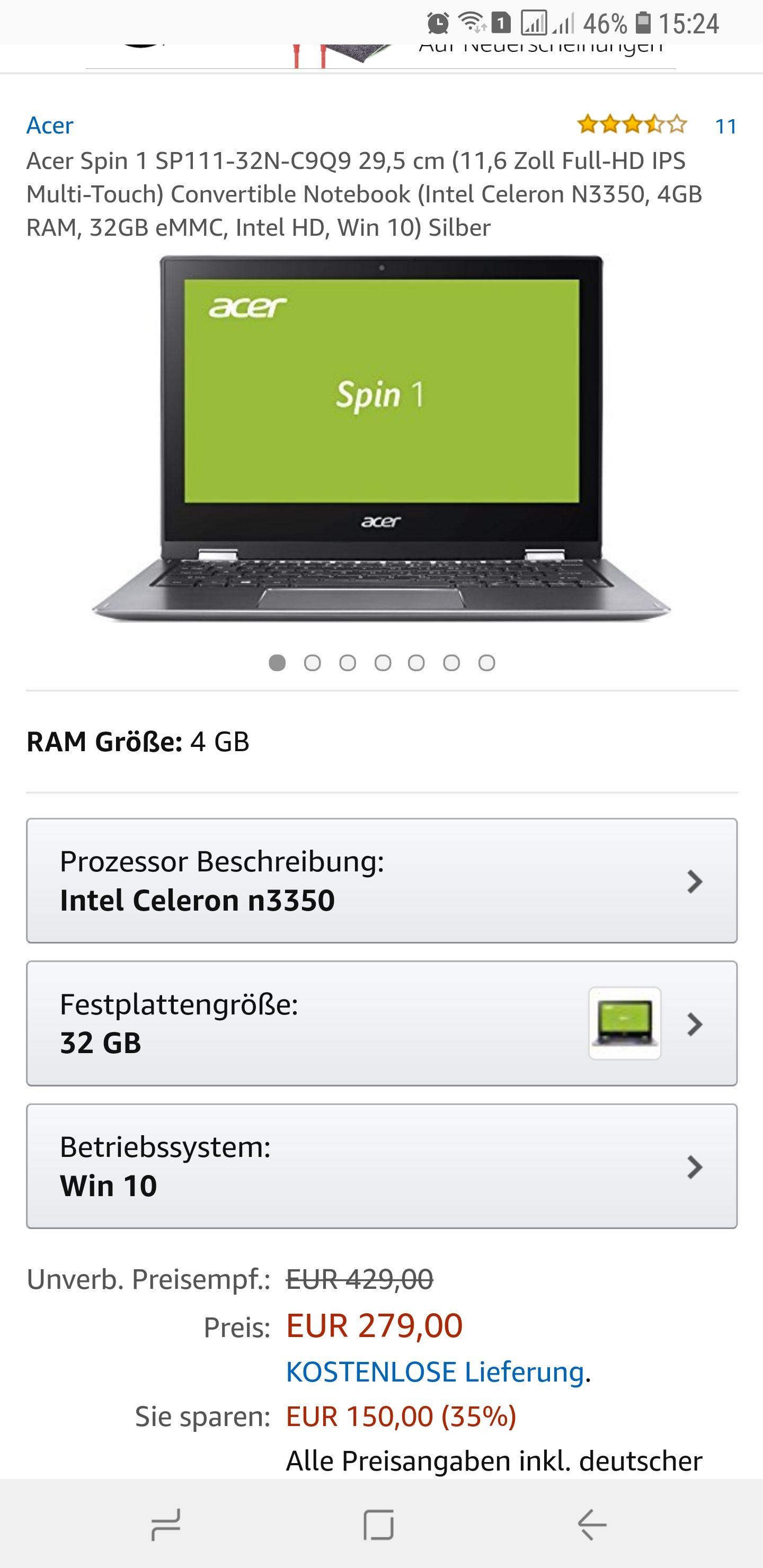 [amazon] Acer Spin 1 SP111-32N-C9Q9 Convertible Notebook/Intel Celeron N3340/4GB Ram/ 32GB eMMC/Versandkostenfrei