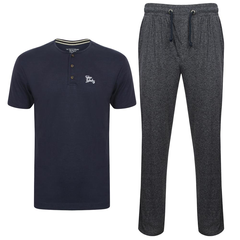 """Tokyo Laundry """"Jamestown"""" Herren Pyjamaset in blau oder grün (Kurzarm-Shirt + Hose, Größen S-2XL)"""