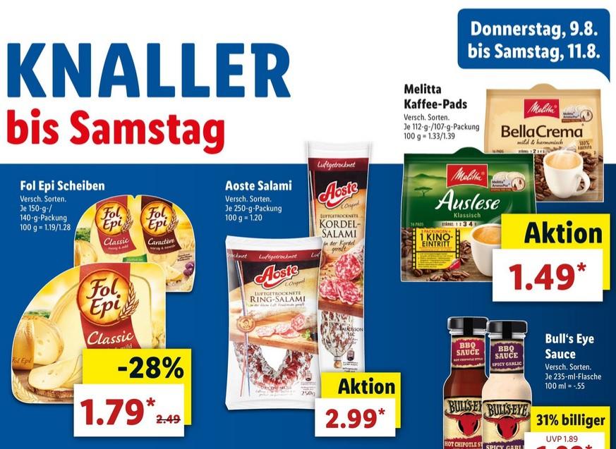 [ Lidl bundesweit bis Samstag 11.08 ] Fol Epi Scheiben für 1,79 + 0,50€ Scondoo Cashback / Melitta Kaffeepads für 1,49€ (inkl. Kino Gutscheine)